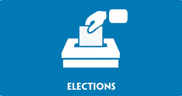"Banner showing text ""elections"" with a cartoon of a hand dropping a paper into a ballot box"