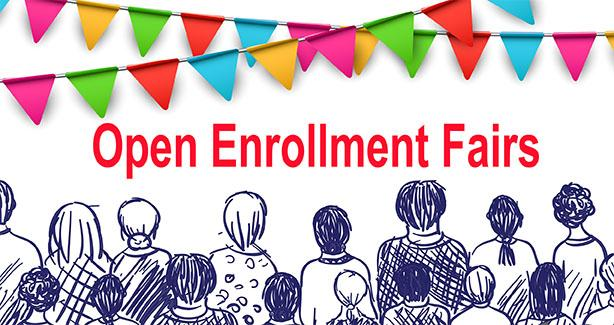 "Image showing colorful banners, drawing of a group of people, and text that says, ""Open Enrollment Fairs"""