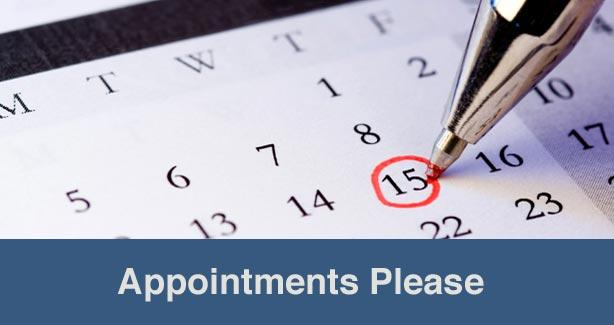 Appointments Please image of calendar